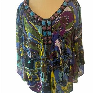 New Direction Sheer Top with Embellished Neckline